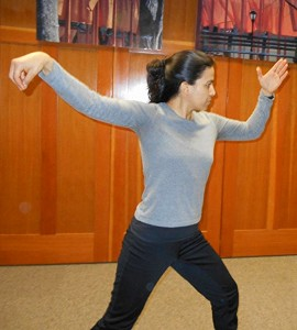 Lupita teaching Tai Chi at the Deming Library.