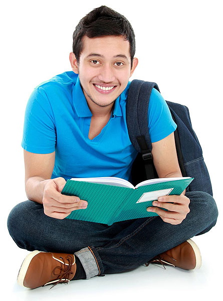 Adult learner reading a book.