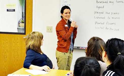 Classroom tutor leading Talk Time class.